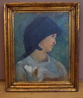MÜHLBECK Károly (1869-1943) festmény, Női portré