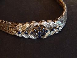 Antik aranyozott ezüst karkötő zafir kövekkel
