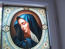 SZECESSZIÓS ÓLOM KERETEZETT ÜVEG KÉP SZŰZ MÁRIA RENDKÍVÜLI A PÁRJA JÉZUS KRISZTUS MÁSIK AJÁNLATOM