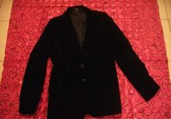 Gyönyörű vintage fekete francia bársony karcsúsított kosztűm kabát