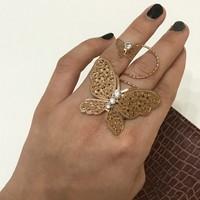 Pillangós csodálatos kézműves vintage gyűrű különlegesség