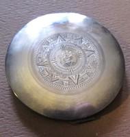 Antik eredeti Aztek Indian Mayan naptarral ezust jelzett puder compact