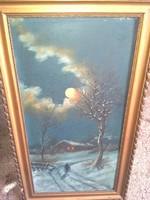 Kárpáthy Jenő:  havas erdő,  olaj vászon festmény