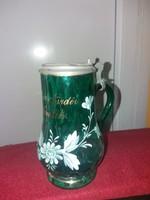 Félix fűrdői emlék zőld festett ritka fedeles üveg kancsó (pohár)