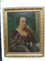 Czencz  János Női portré  Gyönyörű olaj vászon festmény 1931 ből