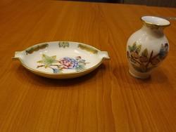 Herendi Viktória mintás porcelán hamutál és váza VBO