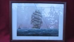 1818 4 db hajós kép sorozat kerettel egy üveg ketté tört 31x23 cm