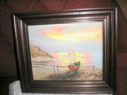 """Galériában vásárolt gyönyörű kortárs festő""""kikötő"""" olajképe"""