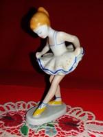 Bájos Hollóházi Art deco porcelán figura Balerina kislány  ritka kézi festés13,5  X 7  X 9 cm