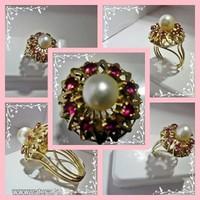 5.7 g -os 14K arany gyűrű 5.7 g rubinokkal díszítve