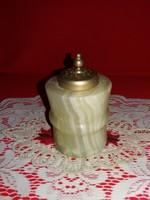 Régi Olasz gyönyörű GENUINE alabástrom + ezüstözött alpakka kombinált dísz sószóróró 10 x 6,5 cm