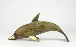 0O026 Réz delfin figura dísztárgy 18 cm