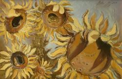 Zoltai Attila: Napraforgók c. olajfestménye (ízléses aranyfüst rátéttel) gyönyörűen keretezve