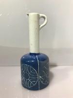 Sötétkék Keuck török kerámia váza világos nyakkal vésett mintával