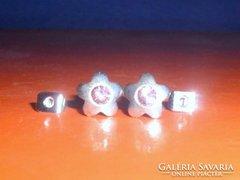 Eperkvarc kristály Virág 925-ös ezüst fülbevaló