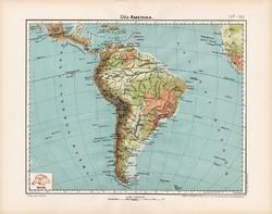 Dél - Amerika hegy- és vízrajzi térkép 1906, Nagy Magyar Atlasz, eredeti, régi, Nagy - Magyarország