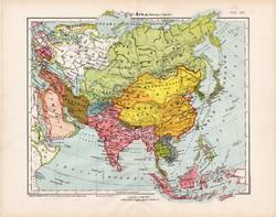 Ázsia politikai térkép 1906, Nagy Magyar Atlasz, eredeti, régi, magyar nyelvű, antik, politika