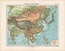 Belső keleti és déli Ázsia hegy- és vízrajzi térkép 1906, magyar atlasz, Nagy - Magyarország, antik