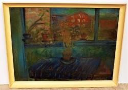 Kling György (1912-1991) Kilátás az ablakból c. Képcsarnokos olajfestménye 86x66cm Eredeti Garancia!