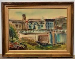 Misch Ádám (1935-1995) Tájkép Képcsarnokos akvarell festménye Eredeti Garancia!
