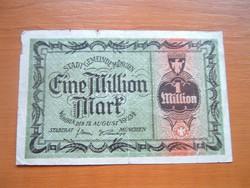 NÉMET BIRODALOM 1 MILLIÓ MÁRKA MARK 1923 MÜNCHEN