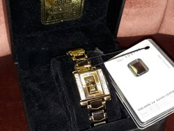Swiss Gold Luxury Women's Jewelry Watch, Counted Stones Watch, Exclusive Gold Gift, Gift Box