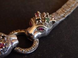 Antik ezüst art deco karkötő . zafir , smaragd, rubin berakás
