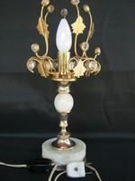 Ónix díszítésű fém asztali lámpa