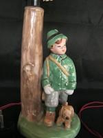 Vadász fiú kutyával retro kerámia lámpa