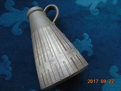 Szignós-modern dombor geometrikus mintás szürkés-barna-bézs kerámia díszkancsó-15 cm