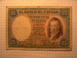Ritka Spanyol 25 Peseta  1935 !!