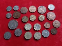 Angol  lot forgalmi érmékkel, szép darabokkal.
