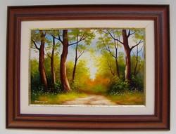 Fények a fák között KERETEZETT Obermayer festmény