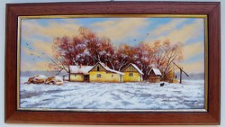 Téli tanya KERETEZETT Obermayer festmény