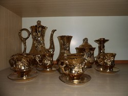 Arany-bevonatos, 10 db-os kerámia kávéskészlet