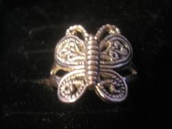 N3 pillangó mintás ezüstözött filigrán áttört gyűrű