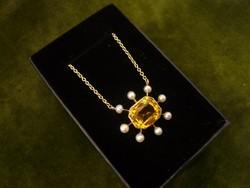 Arany kolié / nyaklánc citrinnel és gyöngyökkel