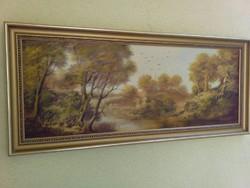Huller Ágoston eredeti festménye etikettel : Horgász a vizen