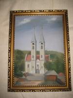 Máriagyűdi kegytemplom  festmény  26x35  cm kerettel szignós