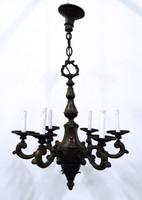 0O173 Antik hat karos bronz csillár