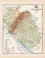 Pozsony vármegye térkép 1897 I., lexikon melléklet, eredeti, megye, Gönczy Pál, Magyarország, antik
