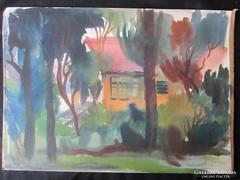 MOSSHAMMER GYÖRGY : Jelzett festmény BALATON 1947