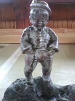 Fiú szobor fémötvözetből 1800.as évek vége