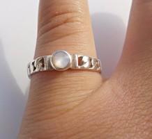 Fonott mintás holdköves ezüst gyűrű