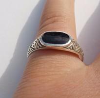 Onix köves mintás ezüst gyűrű