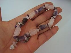 Rózsakvarc+ametiszt ásvány karkötő