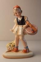 Art Deco Heinz kerámia: Katicabogaras kislány szobor