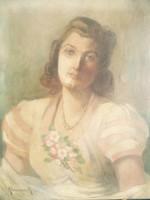 Klammer Mariska ( 1877-? ) - Hölgy gyöngysorral