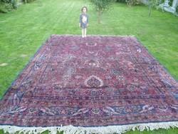Hatalmas, antik, kézi csomózású perzsa szőnyeg: 3,9 x 3 m