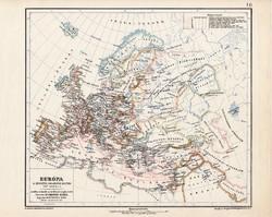 Európa térkép 1217, kiadva 1913, eredeti, atlasz, Kogutowicz Manó, történelmi, keresztes hadjáratok